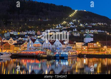 City view to Mount Fløyen Vagen Bergen Norway - Stock Image