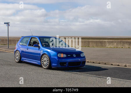 Blue Vw Golf R32 - Stock Image