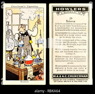 Cigarette card: Churchman's Cigarettes 'Howlers' series (1937) - Science - Stock Image