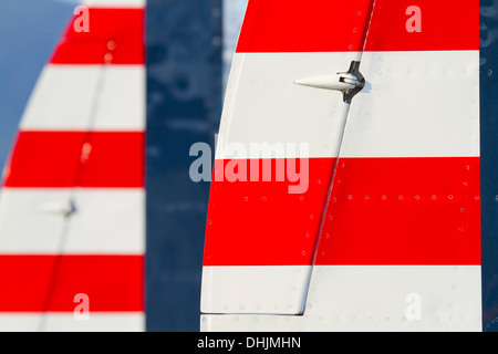 American national stripes on tail of P-38 Lightning aircraft - Stock Image