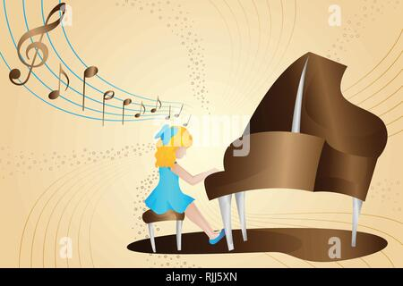 A vector illustration of Girl Playing Piano - Stock Image