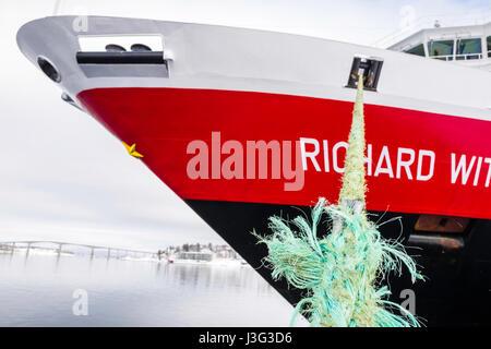 Hurtigruten Coastal Express cruise ship 'Richard With' docked at Finnsnes, Troms County, Norway. - Stock Image