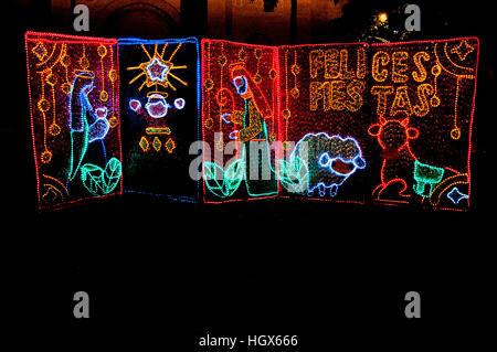 Some Christmas decoration at the Park of Simon Bolvar (Parque de Simon Bolivar) in Medellin, Colombia - Stock Image