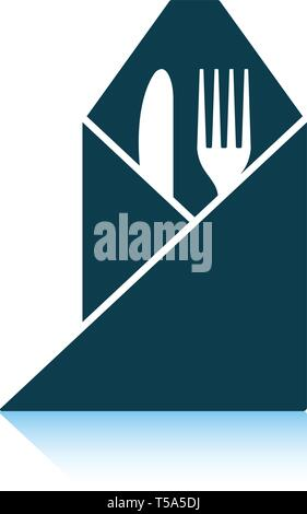 Fork and knife wrapped napkin icon. Shadow reflection design. Vector illustration. - Stock Image