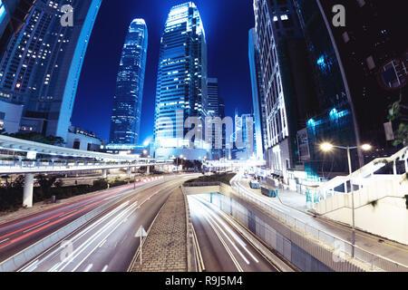 Night street at Hong Kong city. Business abstract - Stock Image