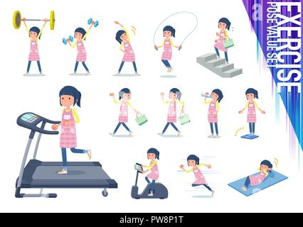 A set of Childminder women on exercise and sports.There are various actions to move the body healthy.It's vector art so it's easy to edit. - Stock Image