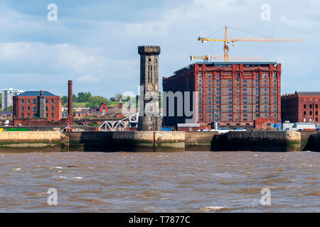 Victorian Stanley Dock tobacco warehouse and the octagonal clock tower. The world's largest brick warehouse - Stock Image