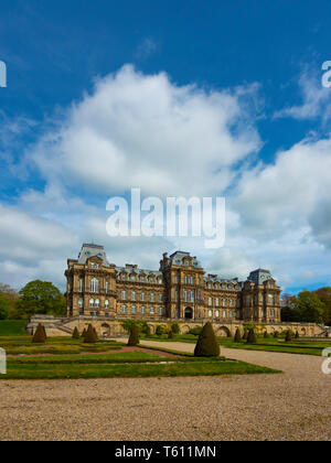 The front aspect of the Bowes Museum and formal garden Barnard Castle Co Durham England UK in Spring with copy space - Stock Image