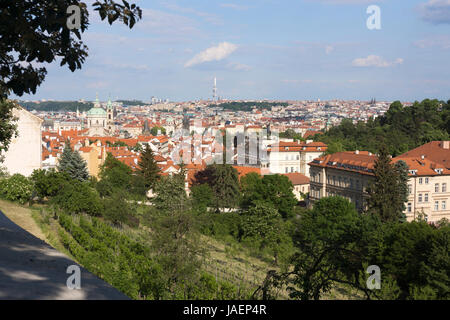 The old town and new town of Prague as viewed from Úvoz, Malá Strana, Prague, Czech Republic - Stock Image