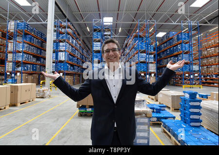 Pavlov, Czech Republic. 14th May, 2019. Country Managing Director CZ&SK - Panalpina Robert Sgariboldi poses, as Swiss logistic company Panalpina opens its second industrial building near the municipality Pavlov on the outskirts of Prague, Czech Republic, along the D6 motorway, on Tuesday, May 14, 2019. Credit: Michaela Rihova/CTK Photo/Alamy Live News - Stock Image
