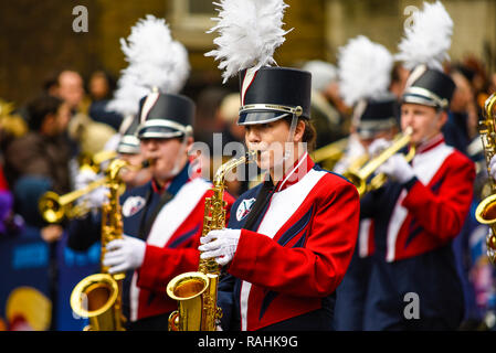 Newark Charter High School Marching Band from Delaware, USA, at London's New Year's Day Parade, UK. American musical band - Stock Image