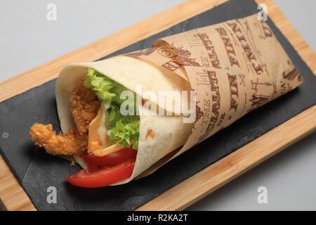 A shot of a tortilla sandwich, closeup - Stock Image