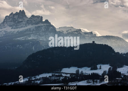 Panoramic view of Pocol in a hazy day Cortina D'Ampezzo, Dolomites, Italy - Stock Image