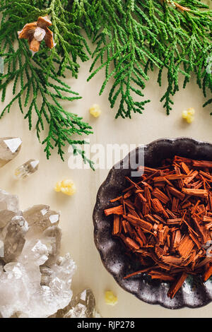 Red Sandalwood with Smoky Quartz and Incense Cedar - Stock Image