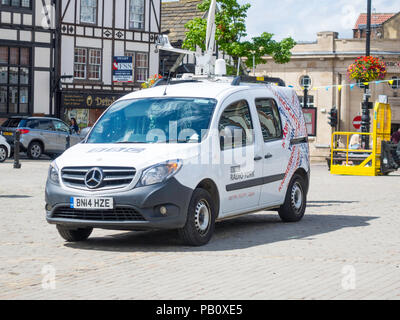 A BBC York reporters van with satellite transmission on assignment in Ripon Market Place North Yorkshire - Stock Image