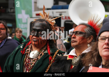 London, UK. 1st January, 2019. Warriors of Anikituhwa  ahead of the annual New Years parade in the street of London. About 8,000 performers representing the London boroughs and over 20 countries from across the globe take part on the annual New Years Parade on the street of London on January 1, 2019. The parade will as is custom include dancers, acrobats, cheerleaders, marching bands, historic vehicles and huge balloons making their way from Green Park Tube station to Parliament Square. Credit: david mbiyu/Alamy Live News - Stock Image