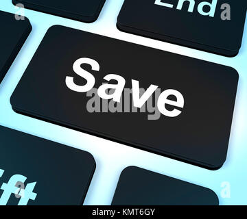 Save Computer Key Shows Discounts Or Promotion - Stock Image