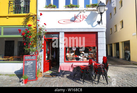 The traditional cosy Flemish cafe Jetje located in historic centre of Ghent , Belgium. - Stock Image