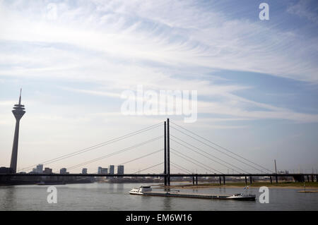 Vacando barge river Rhine Dusseldorf Germany - Stock Image