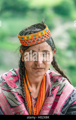 Kalash woman in traditional dress - Stock Image