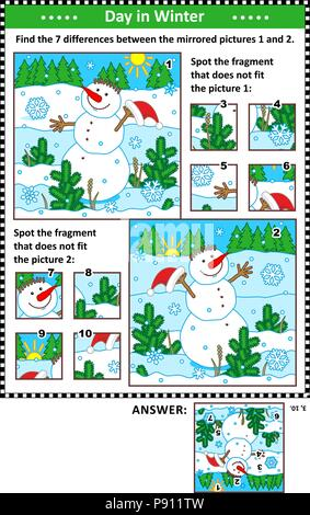 New Year or Christmas visual puzzles with cheerful snowman. Find the differences between the mirrored pictures. Spot the wrong fragments. - Stock Image