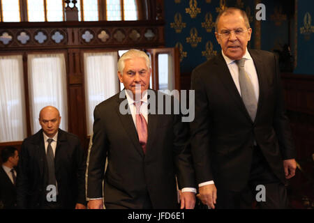 U.S. Secretary of State Rex Tillerson with Russian Foreign Minister Lavrov ahead of their bilateral meeting at the - Stock Image