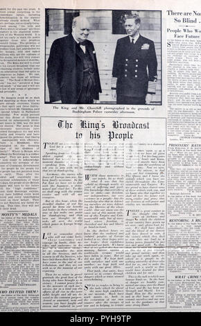 The Daily Telegraph newspaper King George VI & Winston Churchill & The Kings Broadcast speech article 8 May VE Day on 9 May 1945 in London England UK - Stock Image