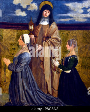 Francesco Morone ( 1471-1529), Element of polyptych: St. Clare and two devotees, late fifteenth century, tempera on canvas  Italy, Italian. - Stock Image