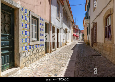 Scenic Cascais streets in historic center - Stock Image