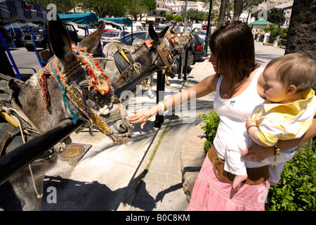 Mother and toddler looking at the donkey taxis, Mijas Pueblo, Costa del Sol, Andalucia, Spain - Stock Image