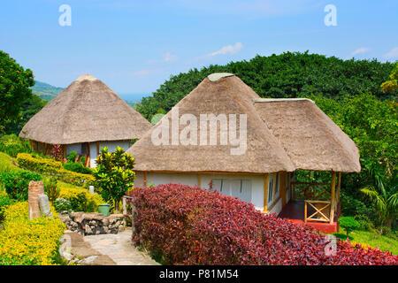 Baboon Safari Lodge, just outside the Queen Elizabeth National Park at Kyambura escapement, Uganda, East Africa - Stock Image