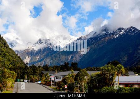 Part of Franz Josef Glacier Township - Stock Image