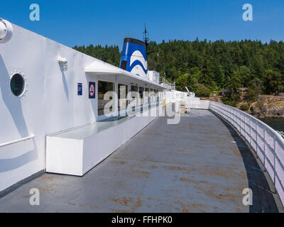 Outdoor deck of the former BC Ferries ship 'Queen of Nanaimo' (1964) at Pender Island, one of the BC Gulf - Stock Image