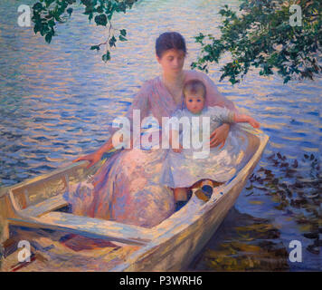 Mother and Child in a Boat, Edmund Tarbell, 1892, Museum of Fine Arts, Boston, Mass, USA, North America - Stock Image