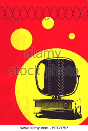 Vintage television Predicta retro advert design tube telly TV - Stock Image