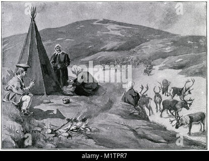 Halftone illustration of an encampment of Lapplanders. The woman neart the tent is making a brewed coffed drink - Stock Image