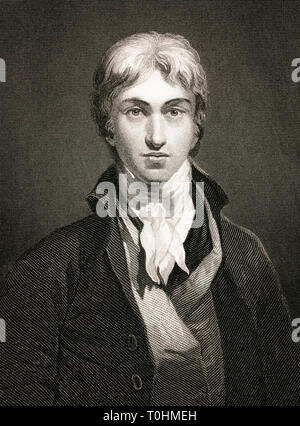 JMW Turner, portrait, engraving, c. 1859-1879 by William Holl - Stock Image
