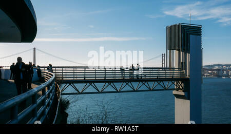 Lisbon, Portugal - March 2nd, 2019: View of the Panoramico Boca do Vento Elevator, Almada - Stock Image
