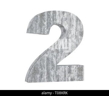 3D rendering concrete number 2 two. 3D render Illustration. - Stock Image