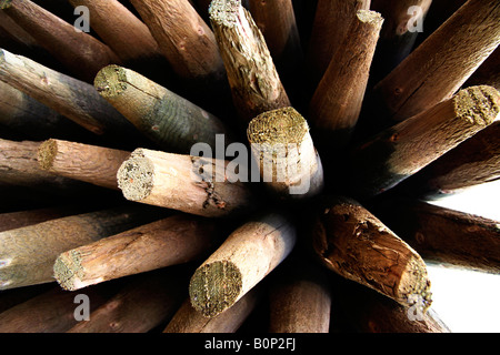 A wide angle shot of a stack of wooden posts. - Stock Image