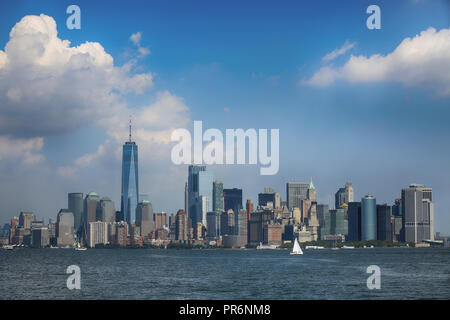 New York City Manhattan aerial view from Liberty island - Stock Image