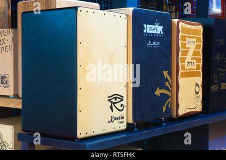 Flamenco 'cajon'. Musical instruments shop. Spain. Europe - Stock Image