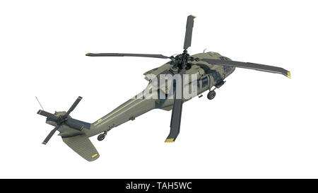 Helicopter in flight, military aircraft, army chopper isolated on white background, top view, 3D rendering - Stock Image