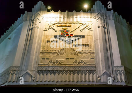 Historic Cadillac La Salle Fleetwood Marquee sign in bas-relief on an Art Deco facade along Lincoln Road Mall in - Stock Image