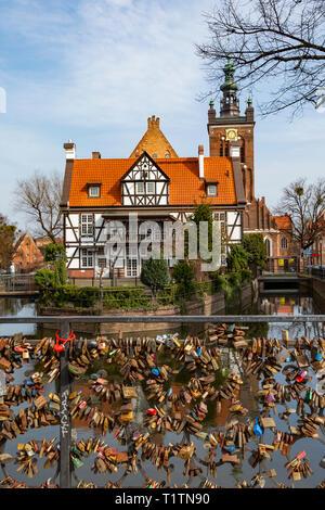 Love Locks on Bridge near Miller's Cottage, Gdansk, Poland - Stock Image