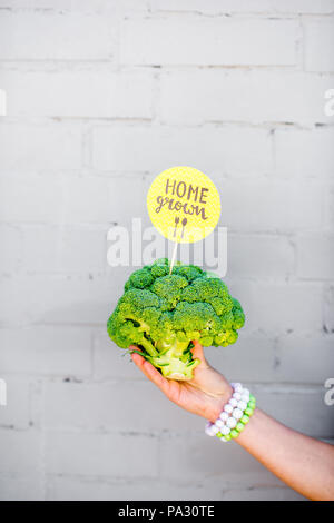 Holding broccoli with green sticker on the gray wall background - Stock Image