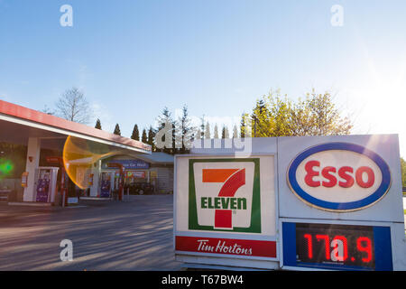 NORTH VANCOUVER, BC, CANADA - APR 19, 2019: North American all time high gas prices hit the Vancouver area as seen on this gas station display. - Stock Image