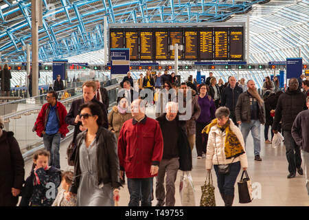 Passengers arriving at Waterloo Stations new terminus, previously the international terminal - Stock Image
