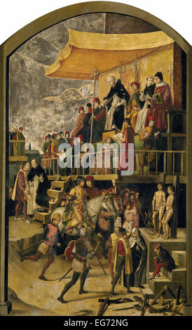 Saint Dominic presiding over an auto-da-fé (lit: 'act of faith'), by Pedro Berruguete (circa 1495) - Stock Image