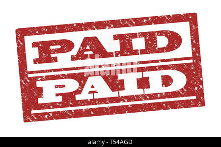 Rubber Stamp Paid , text on white illustration - Stock Image